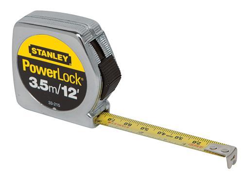 "Stanley 33-215 PowerLock Tape Measure (Metric/English Scale) 1/2"" x 3.5m/12ft."