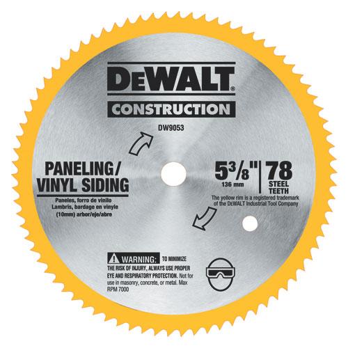 Dewalt Dw9053 Vinyl Paneling Steel Circular Saw Blade 5 3