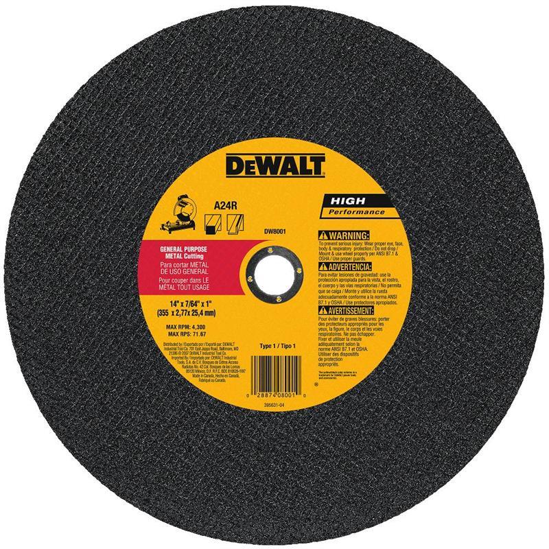 DeWalt DW8001 Metal Chop Saw Wheel 14 X 1