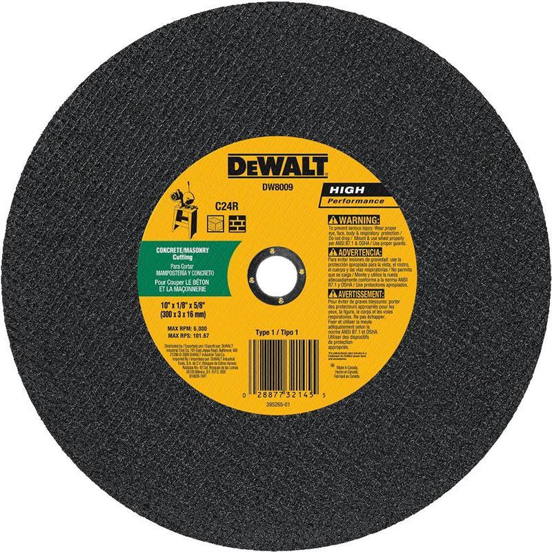 DeWalt DW8009 Masonry Cutting Wheel 10 X 5 8