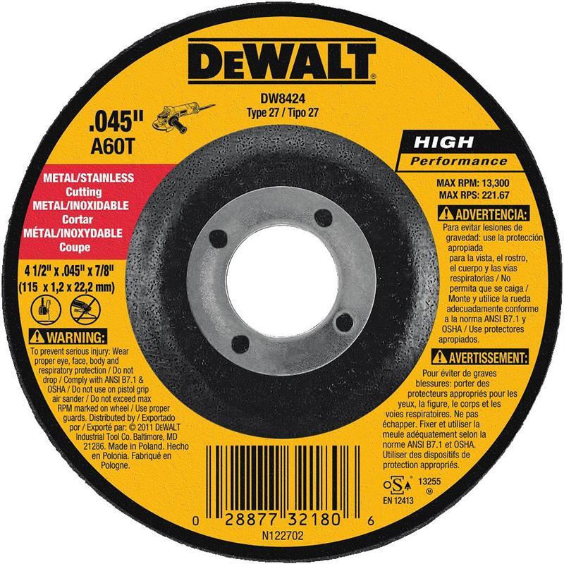 Dewalt Dw8424 Metal Cutting Wheel 4 1 2 Quot 25 Pak