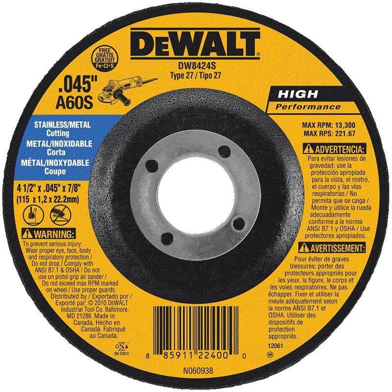 DeWalt DW8424S Stainless Steel Cutting Wheel 4 1 2
