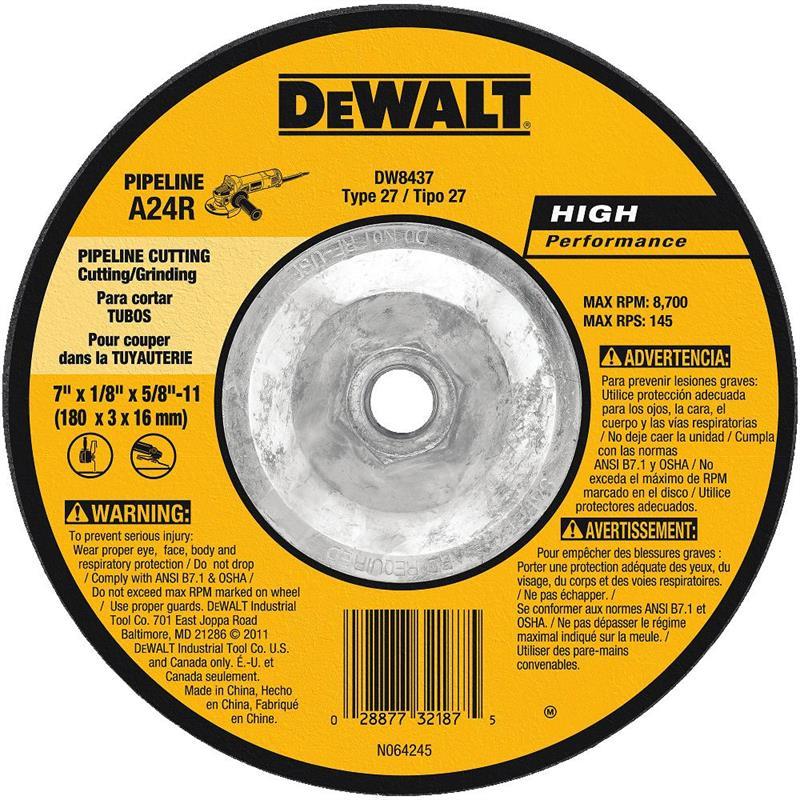 DeWalt DW8437 Pipeline Grinding Wheel 7 X 5 8 11