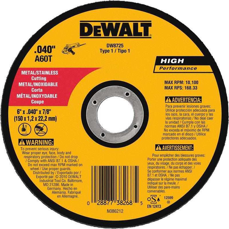 DeWalt DW8725 Metal Cutting Wheel 6