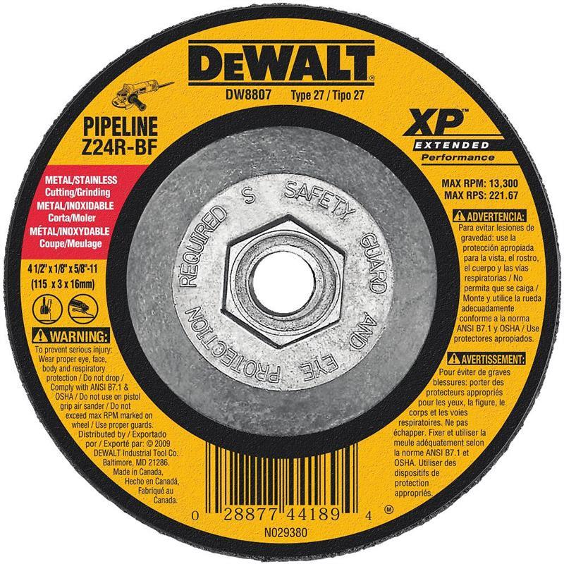 DeWalt DW8807 Metal Cutting Grinding Wheel 4 1 2