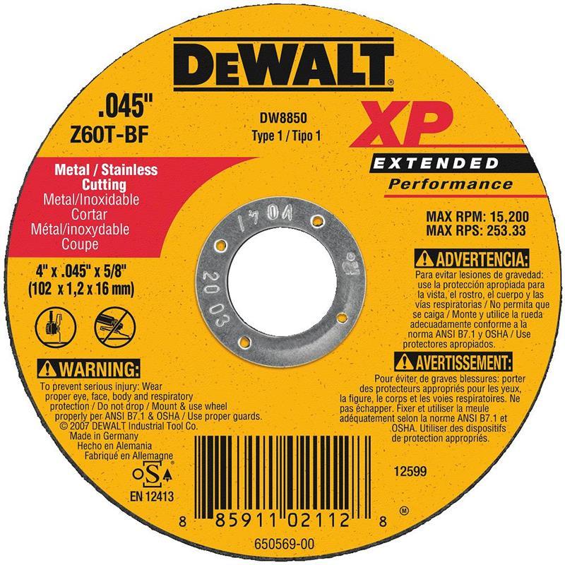 DeWalt DW8850 Metal Cutting Wheel 4 X 5 8