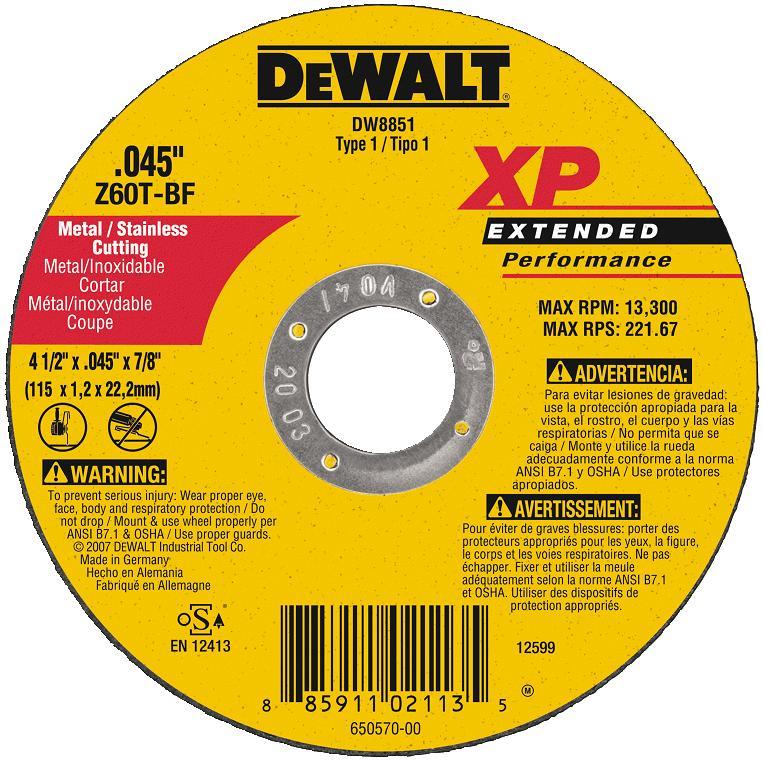 DeWalt DW8851 Metal Cutting Wheel 4 1 2