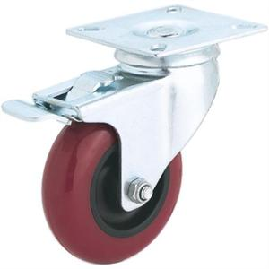 "3"" Swivel Lock Red Polyurethane Caster"