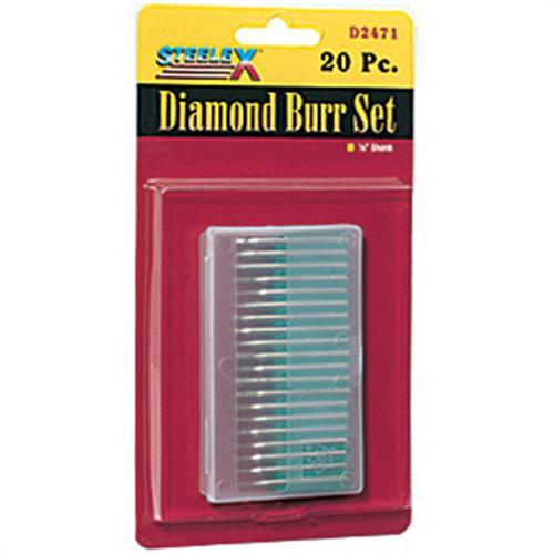 20-Piece Steelex Plus D2471 1//8-Inch Mini Diamond Shank Burr Set