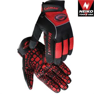 Red Mesh Silicone Printed Gloves